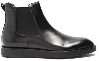 Prada Raised Sole Leather Chelsea Boots - Mens - Black