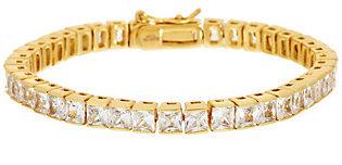 Steel by Design As Is Stainless Steel Princess Cut Crystal Tennis Bracelet