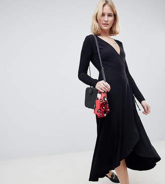 Asos Tall TALL Midi Wrap Tea Dress With Long Sleeves