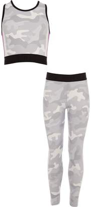 River Island Girls Grey camo crop top and legging outfit