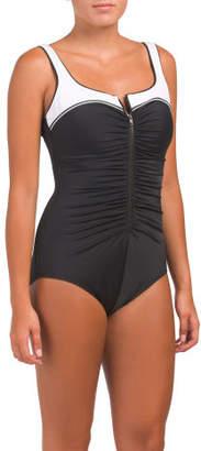 Zip Athletic One-piece Swimsuit