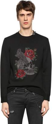 The Kooples Embroidered Wool Blend Sweater