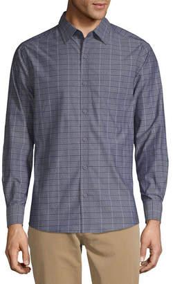 Haggar Tuckless Mens Long Sleeve Diamond Button-Front Shirt