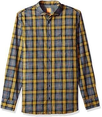 HUGO BOSS BOSS Orange Men's Cattitude Woven Plaid Pattern Long Sleeve Shirt
