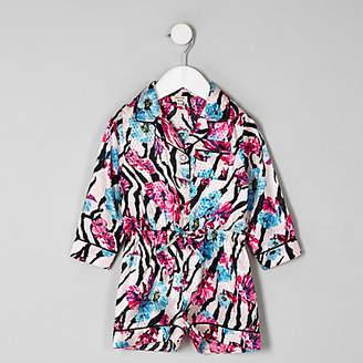 River Island Mini girls pink zebra floral pajama romper