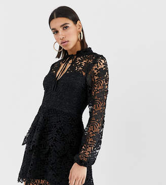 Missguided mini dress with crochet layer detail and tie front in black