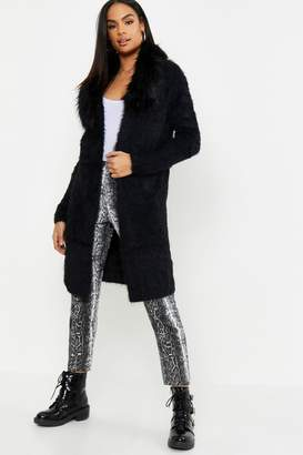 boohoo Tall Faux Fur Collar Soft Knit Cardigan