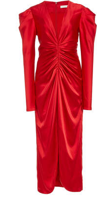 Slit Ruched Satin Midi Dress