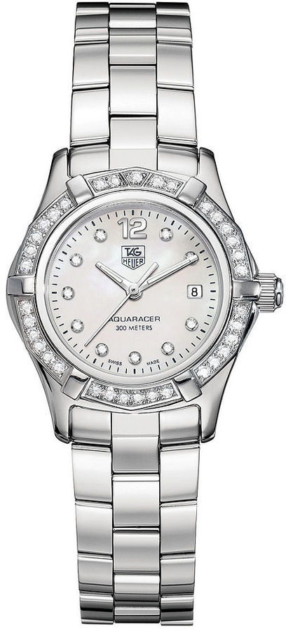 TAG Heuer Watch, Women's Aquaracer Diamond Bezel Stainless Steel Bracelet (1/2 ct. t.w.) WAF1416.BA0824
