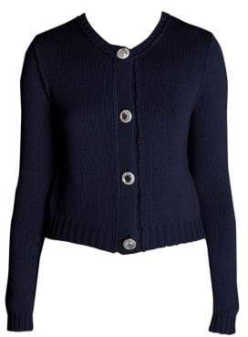 Miu Miu Women's Crystal Button Cashmere Cardigan - Blue - Size 38 (4)