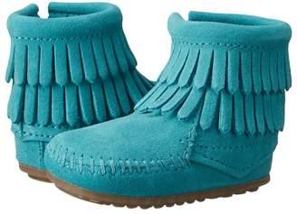 Minnetonka Kids Double Fringe Side Zip Bootie Girls Shoes