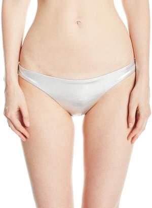 Billabong Women's Island Time Metallic Tonga Bikini Bottom, Silver, L
