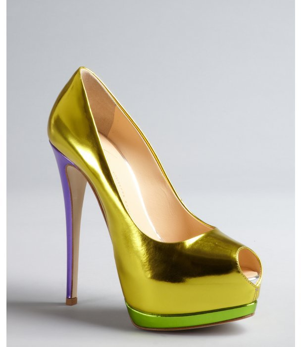 Giuseppe Zanotti yellow, purple and lime mirrored leather platform peep toe pumps
