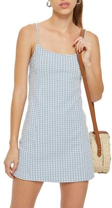 Topshop Gingham Pinafore Minidress