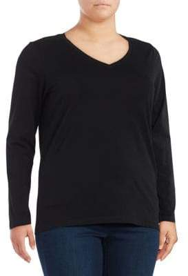 Lord & Taylor Plus Essential V-Neck Shirt