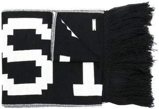 Just Cavalli fringed slogan scarf