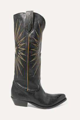 Golden Goose Wish Star Embroidered Textured-leather Knee Boots - Black