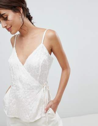 Asos Design DESIGN Wrap Cami In Jacquard With Lace Detail
