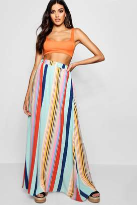 boohoo Woven Stripe Floor Sweeping Maxi Skirt