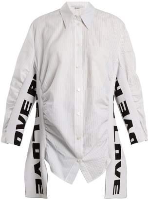 Stella McCartney Text-pattern striped cotton shirt