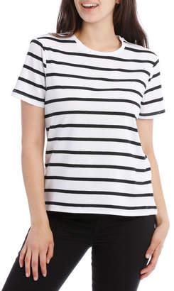 Miss Shop Short Sleeve Crew Neck Tee - Thick Stripe Black/White