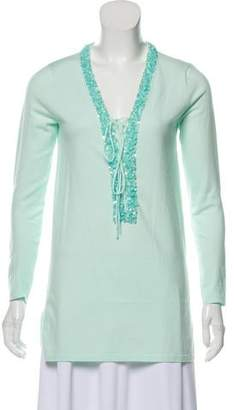Magaschoni Sequined Long Sleeve Top