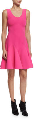 Derek Lam 10 Crosby Sleeveless Fit-and-Flare Ponte Mini Dress, Hot Pink