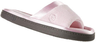 Isotoner Microterry Satin-Trim Slide Slippers
