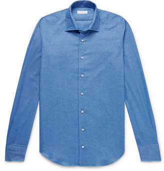 P. Johnson - Brushed-Cotton Twill Shirt - Men - Blue