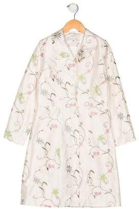 Zoe Girls' Embroidered Long Coat