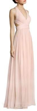 Aidan Mattox Cutout Chiffon Halter Silk Gown