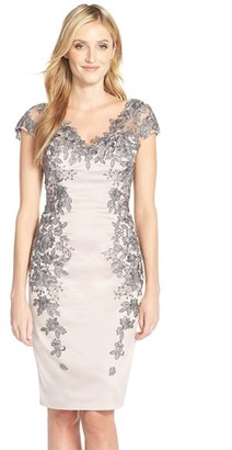 Women's La Femme Floral Applique Satin Shift Dress $524 thestylecure.com