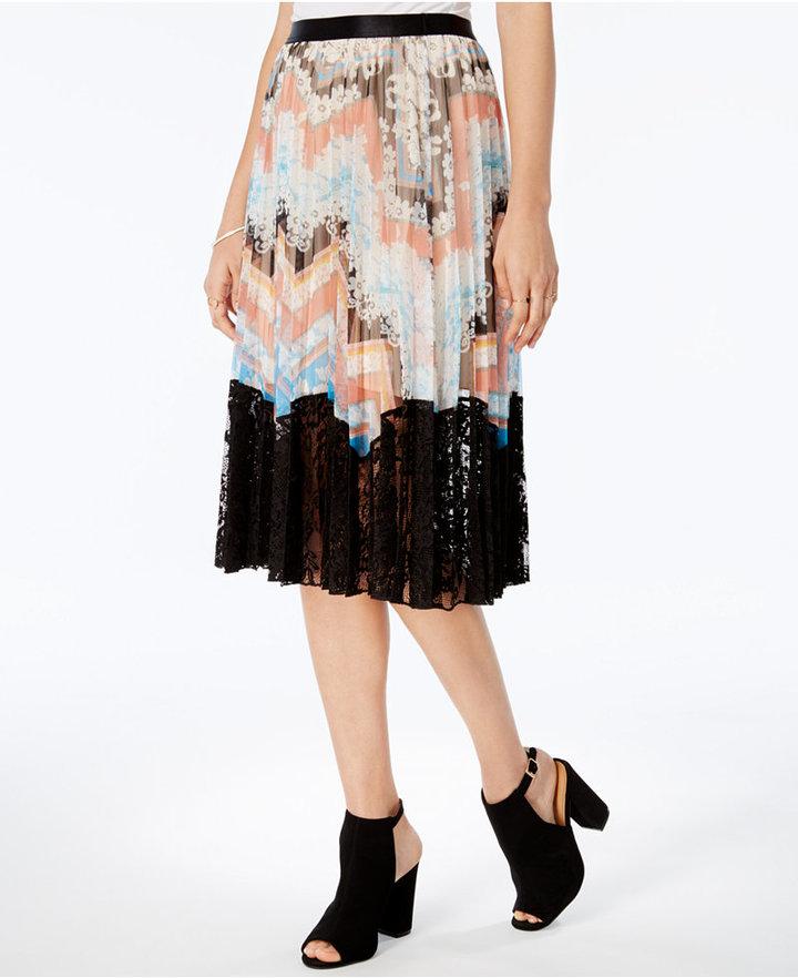 Guess Paulina Pleated Lace-Hem Skirt