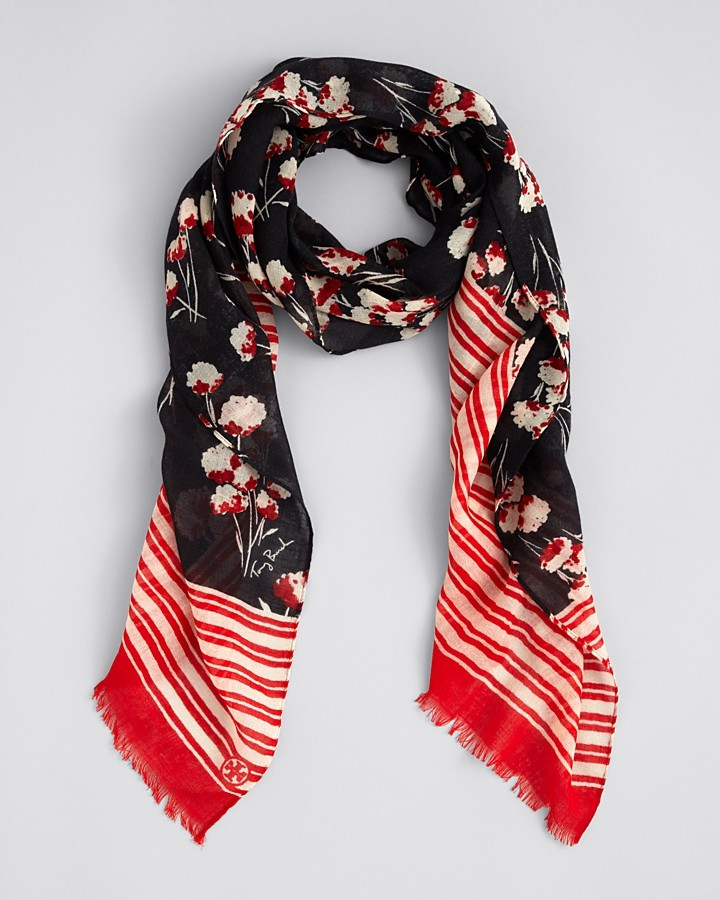 Tory Burch Field Flower Oblong Linen Scarf