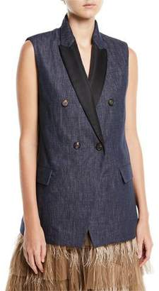 Brunello Cucinelli Peak Lapel Double-Breasted Denim Vest