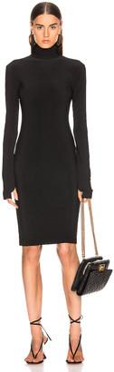 Norma Kamali Slim Fit Turtleneck Dress in Black | FWRD