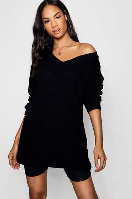 boohoo Erin Rib Knit V Neck Jumper Dress