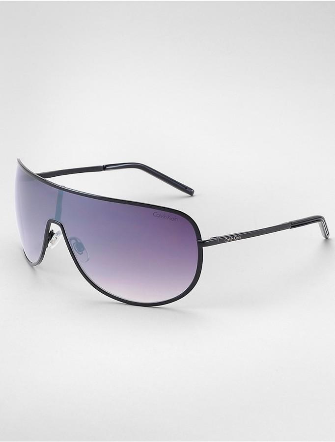 Calvin KleinMetal Frame Shield Sunglasses