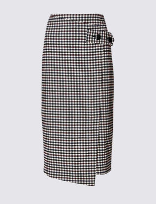 M&S Collection Checked Pencil Midi Skirt with Wool