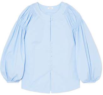 Vilshenko Margot Shirred Cotton-blend Blouse - Blue
