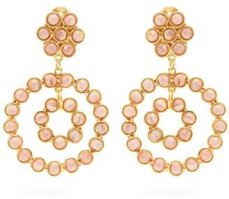 Sylvia Toledano - Malachite Embellished Clip Hoop Earrings - Womens - Pink