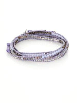 Chan LuuChan Luu Cat Eye, Dalmation Jasper, White Opal & Leather Beaded Wrap Bracelet