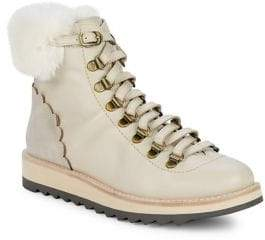 Kate Spade Maira Leather and Faux Fur Hiking Booties