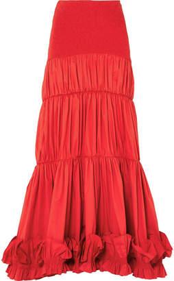 Johanna Ortiz - Fleur De Geisha Ruffled Cotton-blend Maxi Skirt - Red