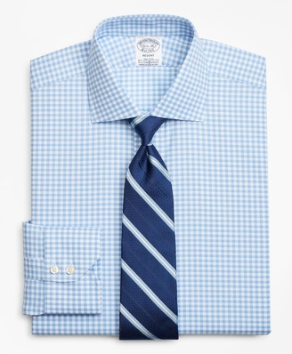 Brooks Brothers Stretch Regent Fitted Dress Shirt, Non-Iron Royal Oxford Gingham