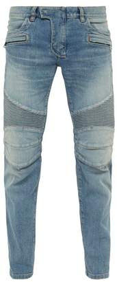 Balmain Tapered Ribbed Inset Biker Jeans - Mens - Light Blue
