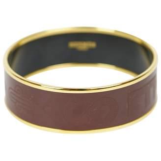 Hermes Burgundy Metal Bracelet