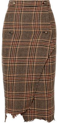 Vetements Distressed Wool-tweed Wrap Midi Skirt - Brown