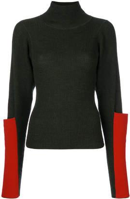 contrast sleeve pocket jumper