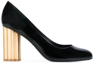 Salvatore Ferragamo gold heel pumps